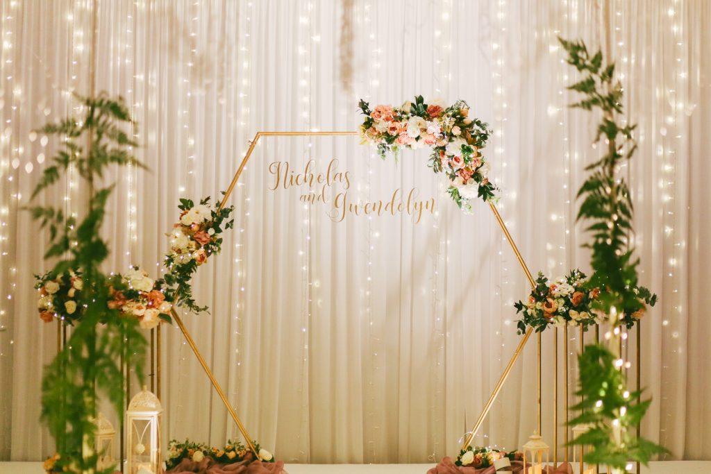 hexagon wedding backdrop