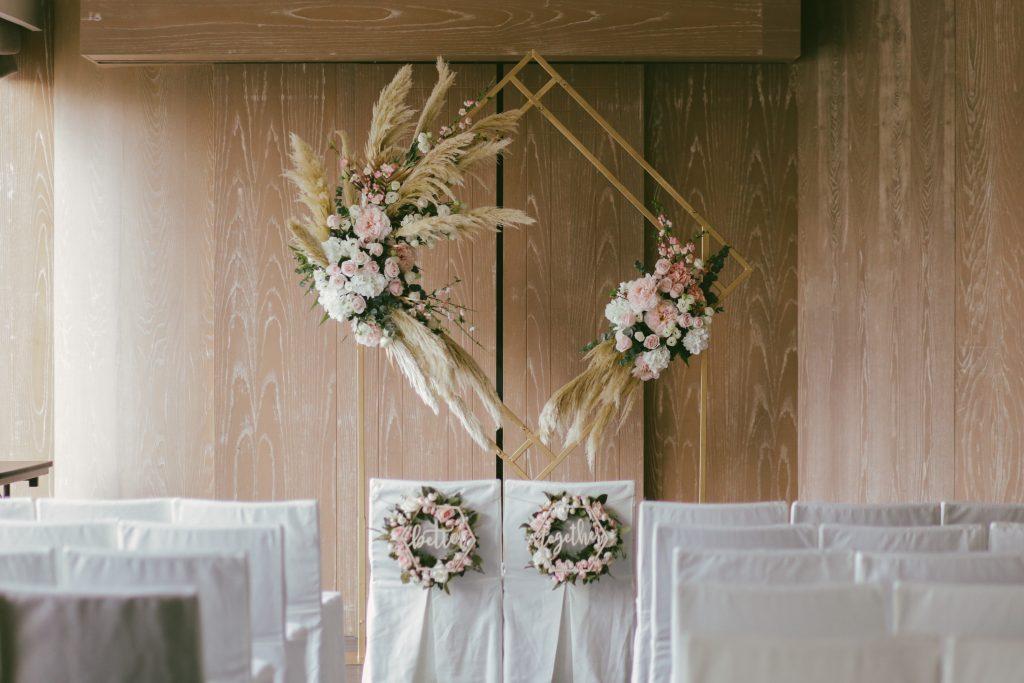 diamond shape wedding backdrop